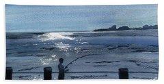 Lone Fisherman On Worthing Pier Beach Sheet