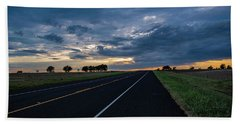 Lone Highway At Sunset Beach Towel