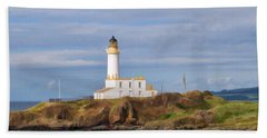 Beach Towel featuring the photograph Lone Lighthouse In Scotland by Roberta Byram