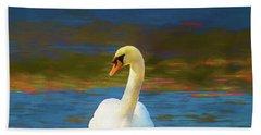 Lone Mute Swan. Beach Towel