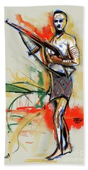 Lone Native Soldier Beach Towel by John Jr Gholson