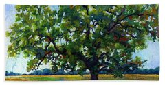 Beach Towel featuring the painting Lone Oak by Hailey E Herrera