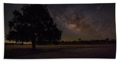 Lone Oak Under The Milky Way Beach Sheet