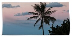 Lone Palm At Sunset Beach Towel by E Faithe Lester