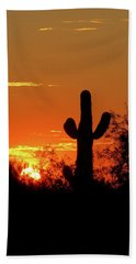 Lone Saguaro Sunrise Beach Towel