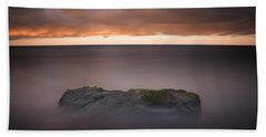 Beach Sheet featuring the photograph Lone Stone At Sunrise by Adam Romanowicz