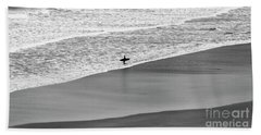 Beach Towel featuring the photograph Lone Surfer by Nicholas Burningham