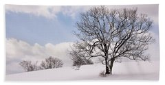 Lone Tree In Snow Beach Sheet