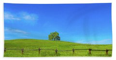 Lone Tree On A Hill Digital Art Beach Towel