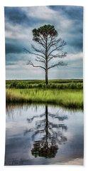 Lone Tree Reflected Beach Towel