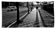 Lonely Man Walking At Dusk In Sao Paulo Beach Towel