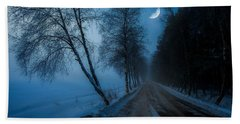 Beach Towel featuring the photograph Lonely Road Where The Moon Is Your Friend by Rose-Maries Pictures