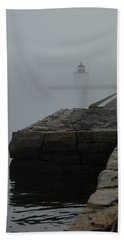 Beach Towel featuring the photograph Lonely Salem Lighthouse In Fog by Jeff Folger