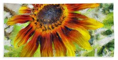 Lonely Sunflower Beach Towel