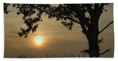 Lonely Tree At Sunset Beach Towel