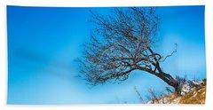 Lonely Tree Blue Sky Beach Towel