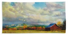 Beach Towel featuring the painting Lonesome Barn by Steve Henderson
