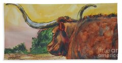 Beach Towel featuring the painting Lonesome Longhorn by Ron Stephens