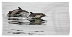Long Beaked Common Dolphin With Calf Beach Towel