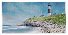 Beach Sheet featuring the digital art Long Island Lighthouse by Kai Saarto