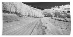 Beach Towel featuring the photograph Long Road In Colorado by Jon Glaser