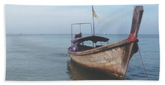 Beach Towel featuring the photograph Long Tail Boat Stillness by Ivy Ho