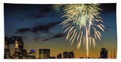 Long Warf Fireworks 1 Beach Towel by Mike Ste Marie