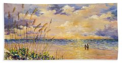 Beach Towel featuring the painting Longboat Key Hockleys View by Lou Ann Bagnall