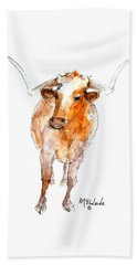 Longhorn 1 Watercolor Painting By Kmcelwaine Beach Towel