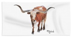 Longhorn 17 Big Daddy Watercolor Painting By Kmcelwaine Beach Towel
