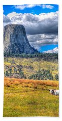 Longhorn At Devils Tower Beach Towel