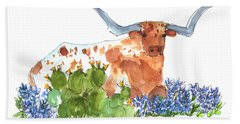 Longhorn In The Cactus And Bluebonnets Lh014 Kathleen Mcelwaine Beach Towel