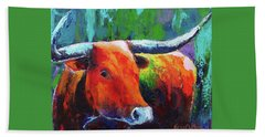 Beach Towel featuring the painting Longhorn Jewel by Karen Kennedy Chatham