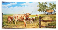 Longhorn Stand Off Your Place Or Mine Beach Towel