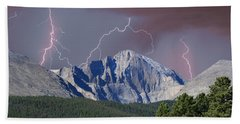 Longs Peak Lightning Storm Fine Art Photography Print Beach Towel