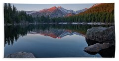 Longs Peak Reflection On Bear Lake Beach Sheet