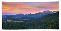 Beach Towel featuring the photograph Longs Peak Sunset by David Chandler