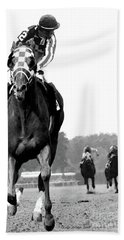 Looking Back, 1973 Secretariat, Stretch Run, Belmont Stakes Beach Towel