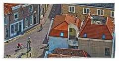 Looking Down From The Church Tower In Brielle Beach Towel by Frans Blok