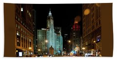 Looking North On Michigan Avenue At Wrigley Building Beach Towel