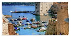 Looking Out Onto Dubrovnik Harbour Beach Towel