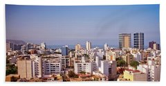 Beach Towel featuring the photograph Looking Towards The Sea - Miraflores by Mary Machare