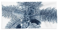 Beach Towel featuring the photograph Looking Up At Palm Tree Blue by Ben and Raisa Gertsberg