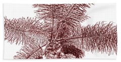 Looking Up At Palm Tree Red Beach Towel by Ben and Raisa Gertsberg