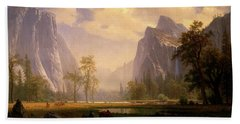 Looking Up The Yosemite Valley  Beach Towel