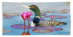 Loon And Lotus Beach Towel