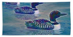 Beach Sheet featuring the painting Loon Lagoon by Teresa Ascone