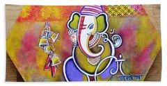 Lord Ganesha With Mantra Om Gam Ganapateye Namaha Beach Sheet