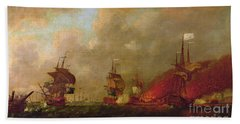 Lord Howe And The Comte Destaing Off Rhode Island Beach Towel