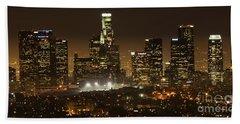 Los Angeles At Night Panorama 4 Beach Sheet by Bob Christopher